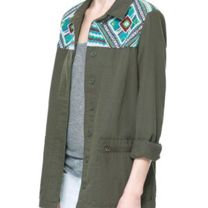 ZARA Army Green Embroidered Utility Jacket Small